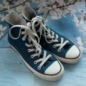 Converse US 6 Teal Blue Hi Tops Lace-Up Sneakers